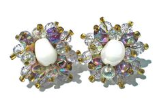 Purple & Iridescent Glass Cluster Clip On Earrings by RibbonsEdge