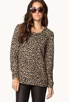 Zippered Leopard Sweatshirt | FOREVER 21 - 2000050711