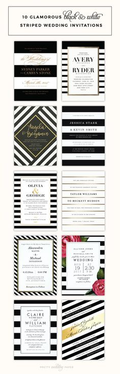 I love all the bold modern stripes in this post, from simple black & white striped wedding invitations, to invites with fancy angled stripes, gold foil, or even pink roses. Read more to check out these invitations from talented designers at Etsy, Minted, Zazzle and Wedding Paper Divas!