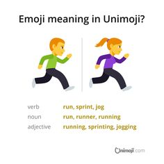 """Are you running out of time? 🏃♂️ 🏃♀️ The """"person running"""" emoji can refer to runner or more specifically sprinter or jogger. Naturally it can also mean the action itself, i. run or running. Emoji Language, Person Running, Time Out, Jogging, Meant To Be, March, Family Guy, Action, Graphics"""