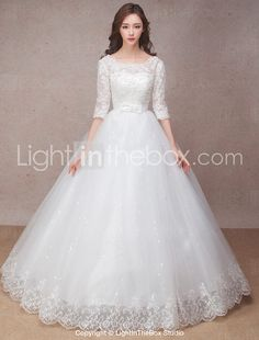 Princess Wedding Dress Floor-length Scoop Lace with Bow / Flower / Ruffle 2017 - $69.99