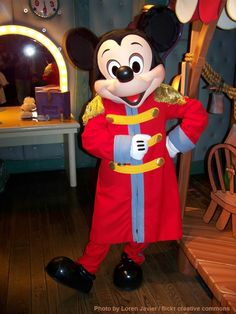 Mickey Mouse in a band uniform.   Disneyland.