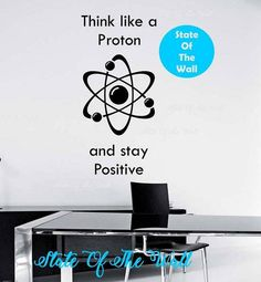 Think like a proton and stay positive wall decal Art Decor