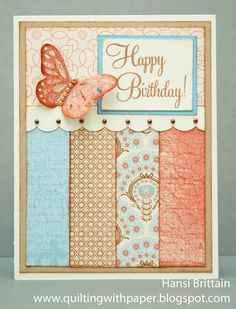 Quilting With Paper: A Masculine and Feminine Birthday Card Using the Same Sketch