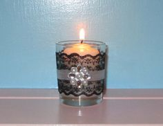 Votive Candle Holder / Bling Wedding Decor by CarolesWeddingWhimsy, $24.99, set of 6 - Black Lace and Silver with Rhinestone and Pearl Charm....perfect for wedding, special event or an evening of wine and roses with your sweetie.  Check them out at https://www.etsy.com/listing/174387359/votive-candle-holder-bling-wedding-decor