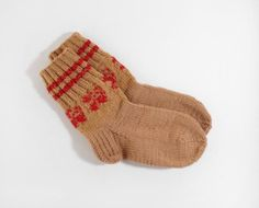 Hand Knitted Wool Socks  Brown and Red Size by UnlimitedCraftworks