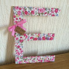 Pink Floral Decorative Letters - Fabric Wrapped Wooden Letters.