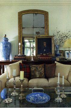 Blue jar with antique mirror.