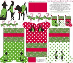 Stocking kit contest: Red-nosed Doggy I mixed some of my favorite Christmas elements (canes, bows, Rudolph), with the silhouettes of my precious dogs (turned into one of Santa's helpers) to create my very Christmassy stockings. Christmas Stocking Kits, Christmas Stockings, Red Nose, Xmas Ornaments, Dog Accessories, Custom Fabric, Spoonflower, Gift Wrapping, Kids Rugs