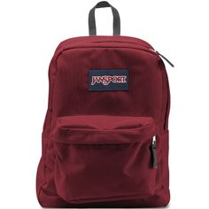 Jansport SuperBreak Backpack ($35) ❤ liked on Polyvore featuring bags, backpacks, accessories, red, bolsas, knapsack bag, red backpack, jansport bags, day pack backpack and jansport backpack