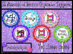 Bounce house Cupcake Toppers Girl jump Birthday Party