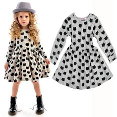 d93b898d8f1 Amazon.com  Puseky Baby Kids Girls Long Sleeve Cat Print Pleated Skirt  Princess Tutu Dresses  Clothing