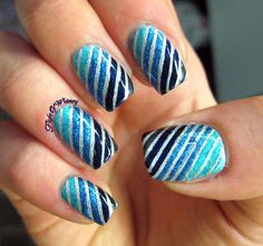 Underwater Stripes in blue gradient #nailart #nails #mani #polish - For more nail looks or to share yours, go to bellashoot.com