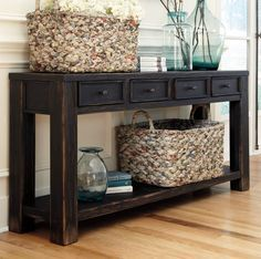 Distressed Weathered Console Table - Vintage Black