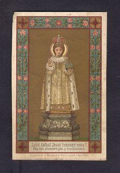 Infant Jesus of Prague Antique Holy card Catholic Art, Roman Catholic, Infant Of Prague, Sacred Heart, Saints, Antiques, Children, Cards, Painting