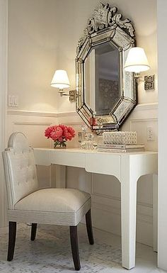 Bm Atrium White Mucco Warner Miller Gorgeous Dressing Room With Venetian Mirror Vanity Leather Tufted Chair
