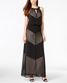 INC International Concepts Striped Keyhole Maxi Dress, Only at Macy's