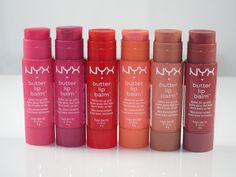 NYX Butter Lip Balms.  These are really nice for moisturizing your lips while giving them some color. I have the colors Ladyfingers and Panna Cotta.
