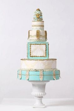 Sculpted Artistic Wedding Cakes With Striking Gold Accents by modwedding, via Flickr