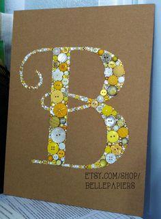 9x12 Button Art Swarovski Rhinestones Custom Monogram Great For Wedding Gift or Baby Shower Gift