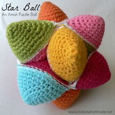 "Star Ball - A Crochet Amish Puzzle Ball Pattern   The FREE Pattern for the ""Star Ball"" is now available.  This ball comes apart into 3 segments that have to be built to form the ball."