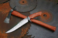 Pilgrim Set The set of a bowie damascus knife and spike damascus tomahawk Bowie: Pavulon Handmade Knives Hawk: Paps custom axes & tomahawks