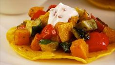 Meatless Mondays! Roasted Vegetable Tostadas with Chipotle Cream