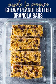 Chewy peanut butter granola bars made with healthy ingredients and no refined sugar! Full of peanut butter flavor, easy to prepare (no oven required!) and perfect for a healthier treat. #sweetpeasandsaffron #granolabars #nooven #healthydessert #norefinedsugar Granola Bars Peanut Butter, Chocolate Chip Granola Bars, No Bake Granola Bars, Chewy Granola Bars, Peanut Butter Roll, Healthy Chips, Healthy Snacks, Clean Eating Granola, Slow Cooker Freezer Meals