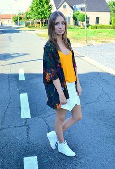 h&m kimono vest flower power tropical print orange zara top skort white nike dunk sky high hi mesh fashion blogger turn it insideout inspiration belgium