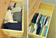 Je t-shirts op deze manier in je lade opbergen bespaart veel plek en je hebt beter overzicht!
