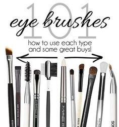 "Eye Makeup Brushes 101: Why So Many? | A groovy slide show representing all the different eye makeup tools, what they're used for and why it makes a difference in your look being ""WoW!!"" or ""Whack!!!"". LOL!"