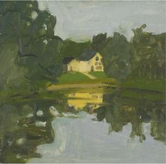 "lawrenceleemagnuson: ""Alex Katz (USA b. 1927) Landscape with Yellow House oil on board 30.5 x 30.5 """