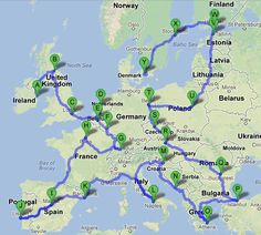 Backpacking Map of Europe | seems a little ambitious for my current budget/situation, but good to save for later :]