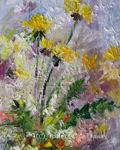 Botanical Dandelions Modern Impressionist by GinetteFineArt, $499.00