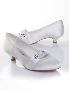 low heel wedding shoes | White/Ivory Satin/Dyeable