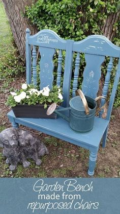 Make a cute garden bench out of some old chairs. Easy weekend project that can also be used as a doll bench. Make a cute garden bench out of some old chairs. Easy weekend project that can also be used as a doll bench. Painted Garden Furniture, Diy Outdoor Furniture, Repurposed Furniture, Furniture Projects, Rustic Furniture, Diy Furniture, Outdoor Decor, Furniture Design, Furniture Stores