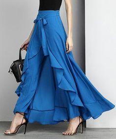 Blue Chiffon High-Waist Ruffle Palazzo Pants