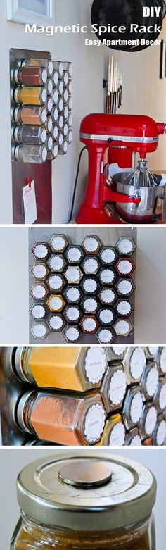 Check out this easy idea on how to make a #DIY magnetic spice rack for #kitchen and #apartment #homedecor on a #budget @istandarddesign