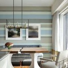 Grey taupe and blue striped wall is like a piece of Art