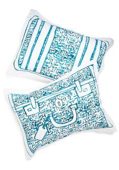 Carry Me Away Pillowsham Set - Blue, Travel, Good, Cotton, Woven, White, Novelty Print, Exclusives