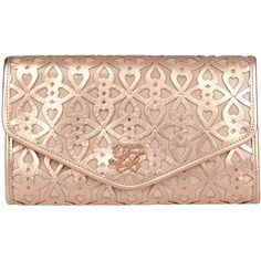 Ted Baker Pajak Leather Cut Out Clutch Bag, Rose Gold ($160) ❤ liked on Polyvore
