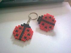 Ladybugs perler bead keychains Más
