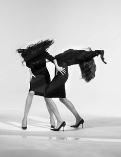 Willy Vanderperre captures Mariacarla Boscono and Natasha Poly in the editorial 'Making a Scene' from the March 2011 issue of W magazine, styled by Olivier Rizzo