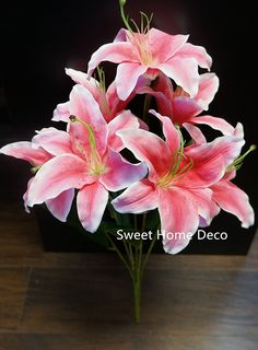 Sweet Home Deco 22'' Silk Stargazer Lily Artificial Flower Bouquet (7 Flower Heads) Home/ Wedding Decoration (Pink) >>> Check out this great product.