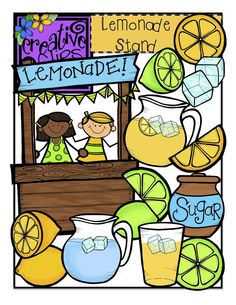 """FREE Set of Clipart!!!! Grab this sweet lemonade set of 26-images for a limited time if you """"like"""" my facebook page. This is a Fan Freebie only- just click """"like"""" for The Creative Chalkboard facebook page and it's yours for free! Personal and commercial use graphics :)"""