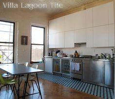 A custom Cubes cement tile kitchen in a New York City apartment. Tile from Villa Lagoon Tile.