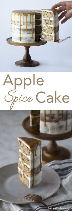 Perfect for Autumn, this delicious caramel apple spice cake is packed with apples, Fall spices and caramel. Click over for full recipe andante video! via /preppykitchen/ apple recipes Spice Cake Recipes, Easy Cake Recipes, Apple Recipes, Cupcake Recipes, Cupcake Cakes, Dessert Recipes, Recipes Dinner, Potato Recipes, Pasta Recipes