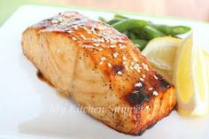 Grilled salmon with sesame ginger glaze