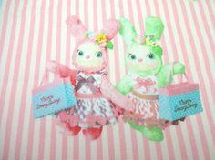 Japanese Fabric KOKKA Usaron Rabbit Stripe  Pink FQ by Cawaiimart