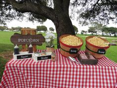 Popcorn Station Popcorn Station, Paper Table, Picnic Time, China Plates, Table Covers, Barbecue, Mason Jars, Kid Birthdays, Filet Mignon